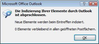 Outlook Indexstatus